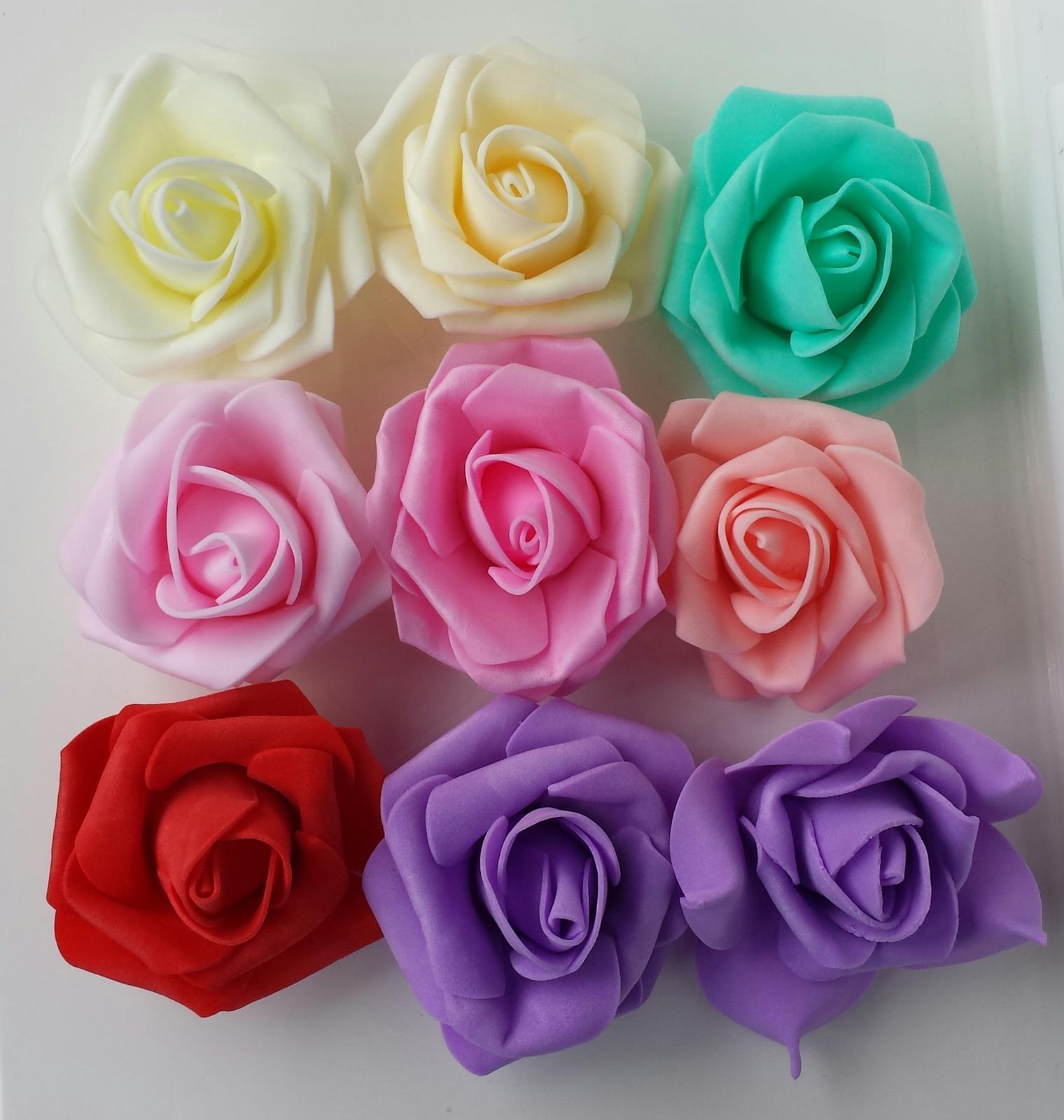 Svatební dekorace na auta - Krásné nové odstíny pěnovek - ivory, champagne, modrozelená, světle růžová, růžová, broskvová, červená, fialová.