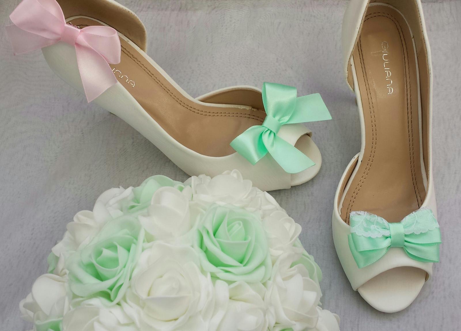 Klipy na boty barva a tvar dle přání - Mint & Pink