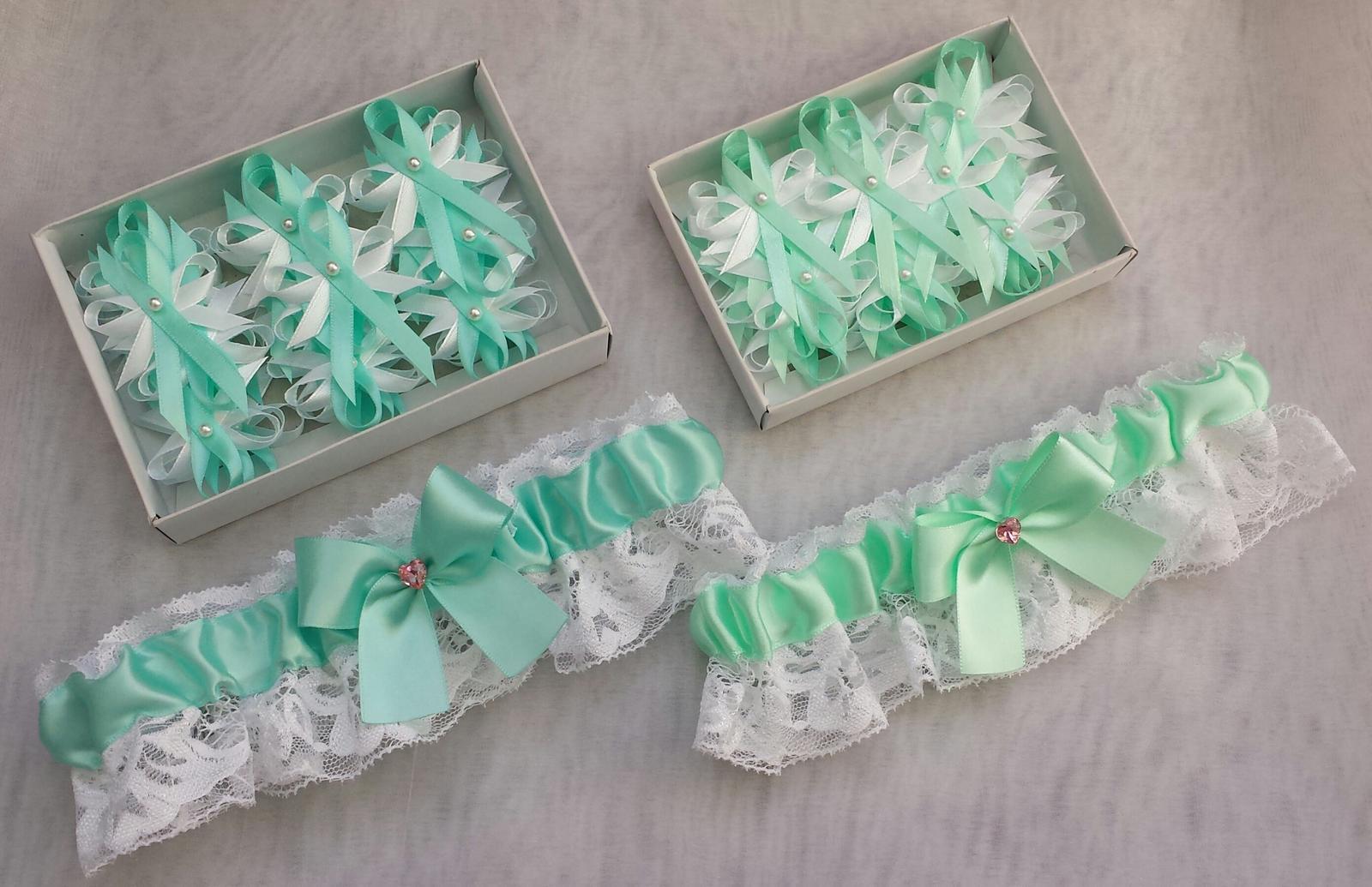 Podvazky + nově sady Swarovski podvazků - Tiffany blue a Mint sady