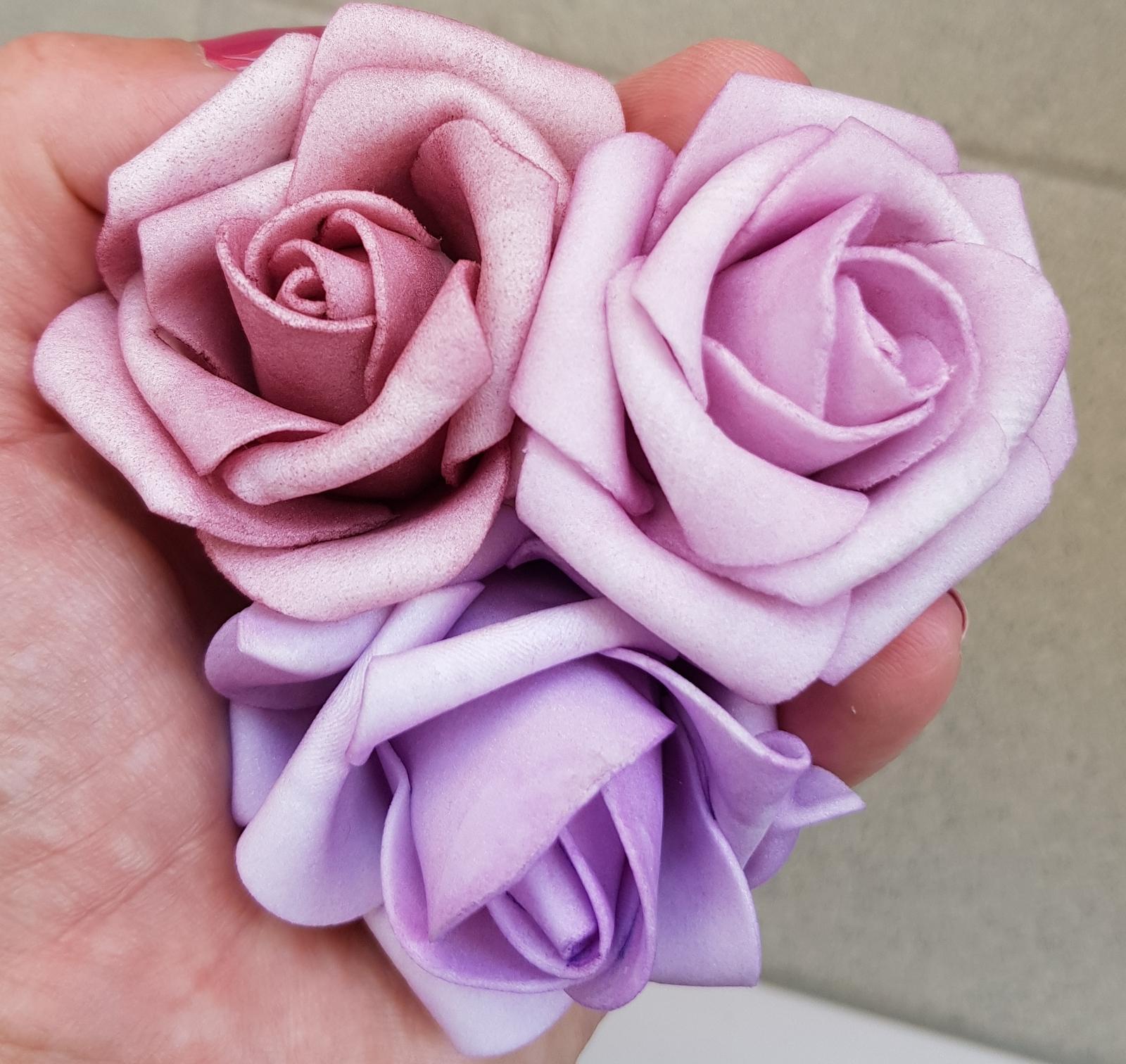 Svatební dekorace na auta - Starorůžová, lila a fialková