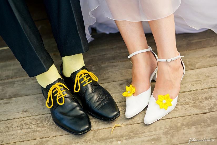 Klipy na boty pro nevěstu - kanzashi - Obrázek č. 1