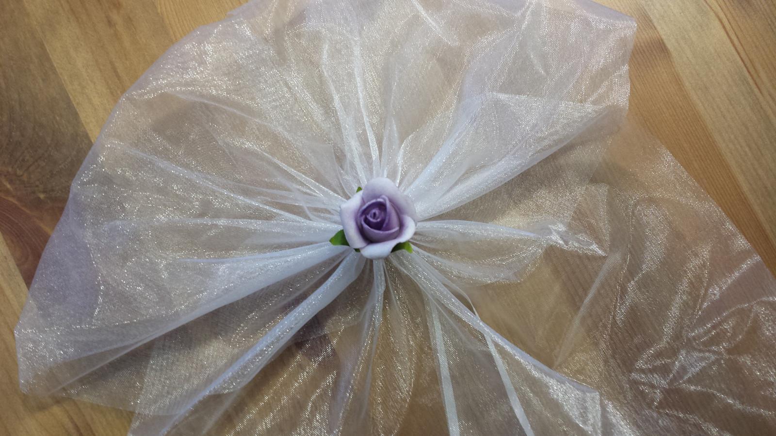 Bílá mašle na zrcátka/kliky ivory květinka vel. M - Obrázek č. 2