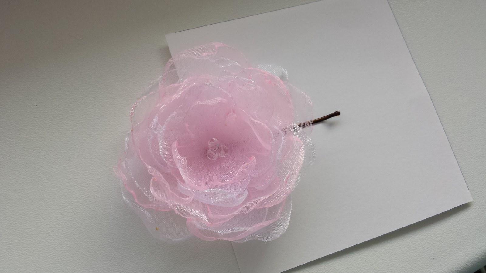 Vélká RŮŽOVO-BÍLÁ kytička pro nevěstu do vlasů - Obrázek č. 1