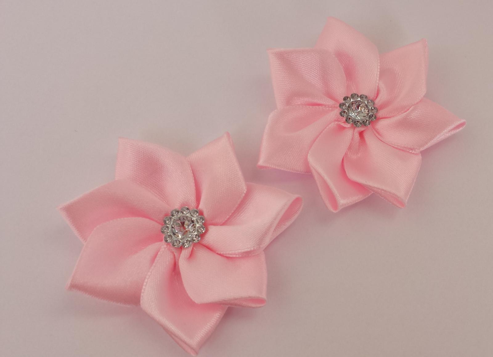 Růžové klipy na boty pro nevěstu - kanzashi - Obrázek č. 1