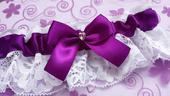 Luxusní fialový podvazek se SW srdíčkem, 38