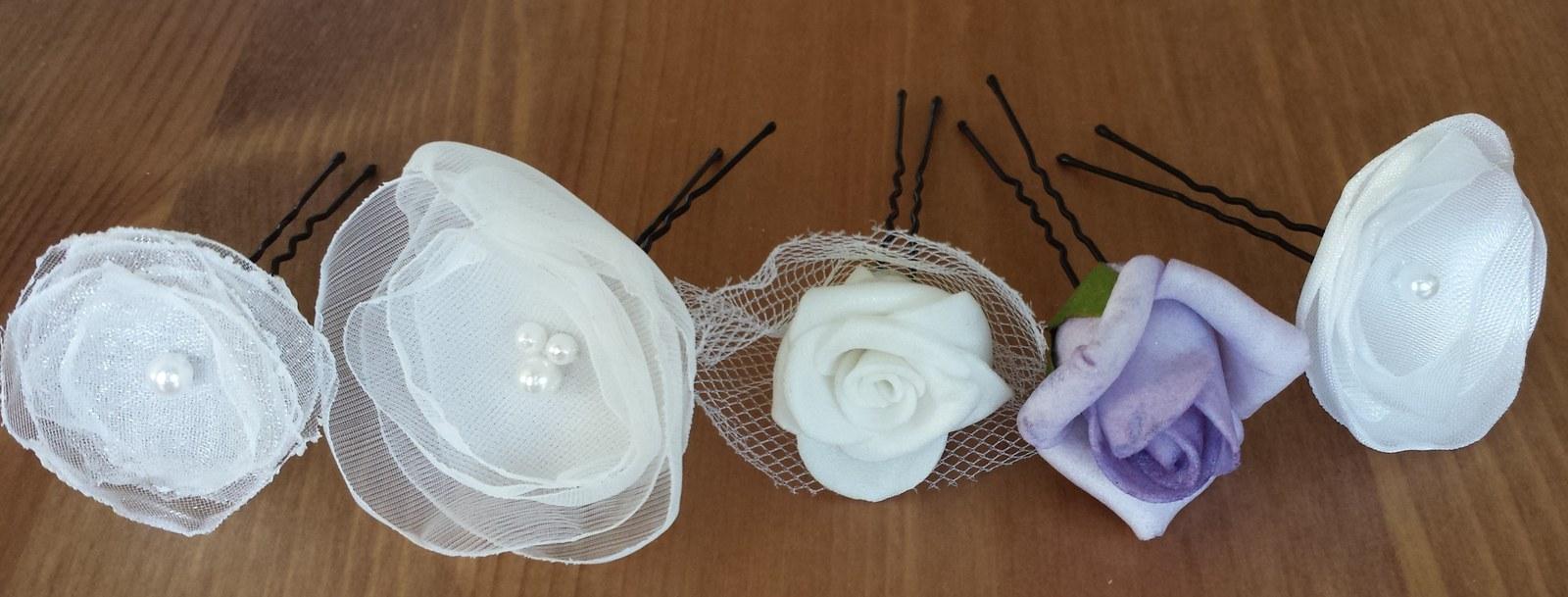 Vlásenky s bílým/lila květem nejen na svatbu - Obrázek č. 1