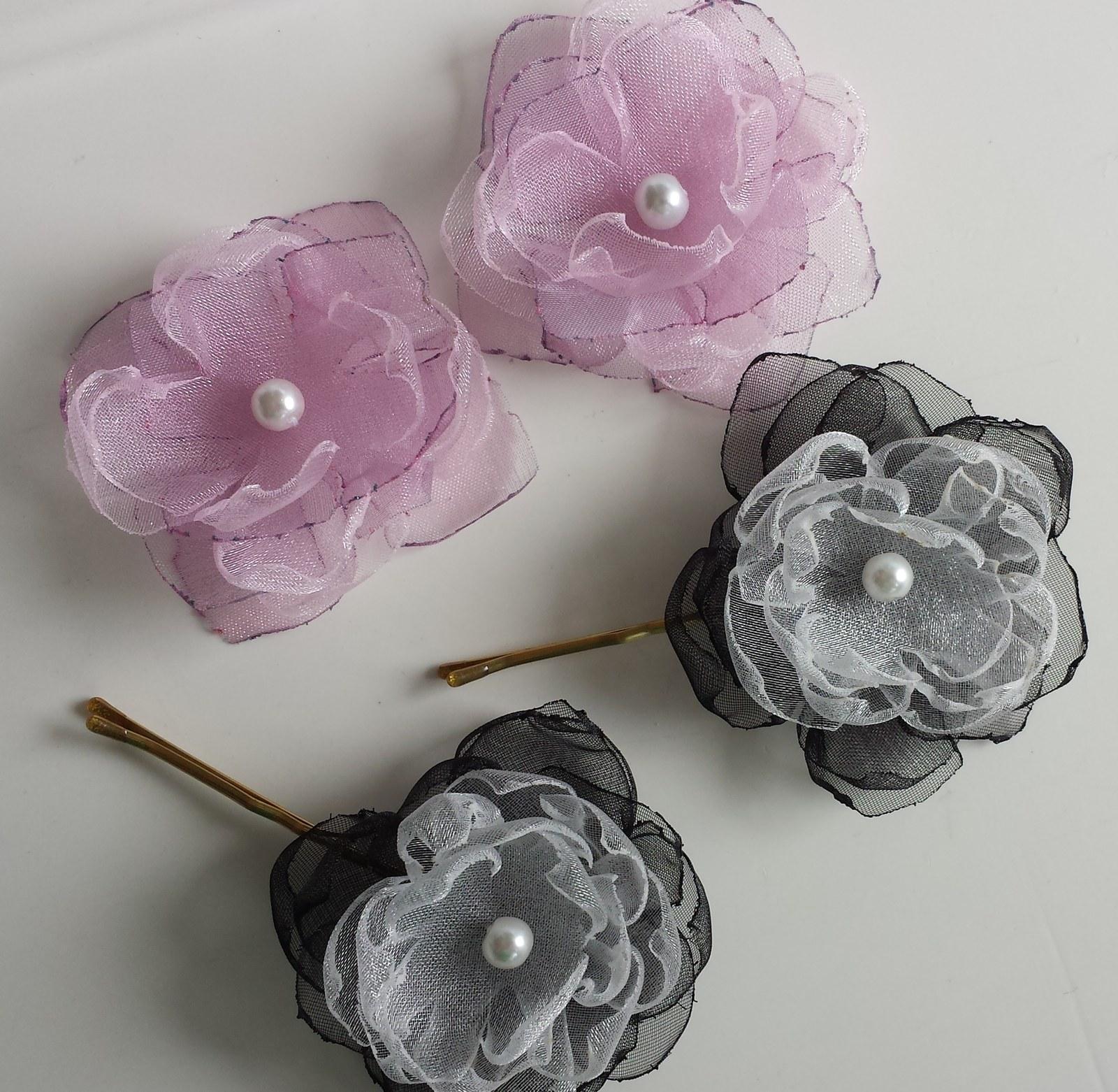 Malinová/fuchsiová kytička pro družičku do vlasů - Obrázek č. 4