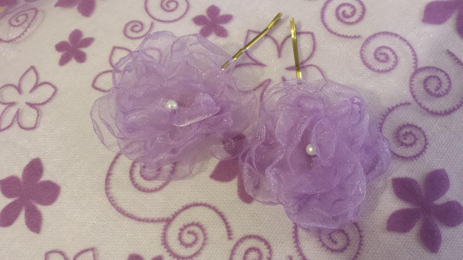 Lila kytička pro družičku -bílá perlička - Obrázek č. 1