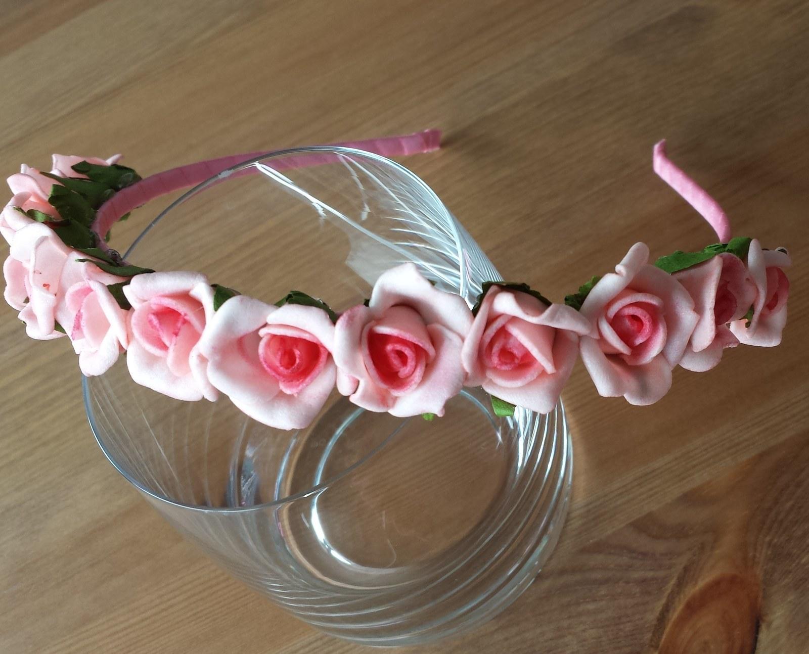 Růžová květinová svatební čelenka - Obrázek č. 1