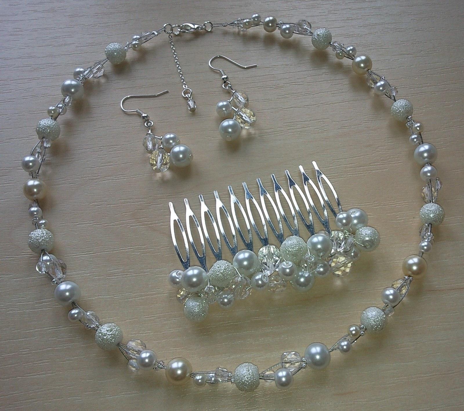 Ivory perličkový svatební hřebínek  - Obrázek č. 4
