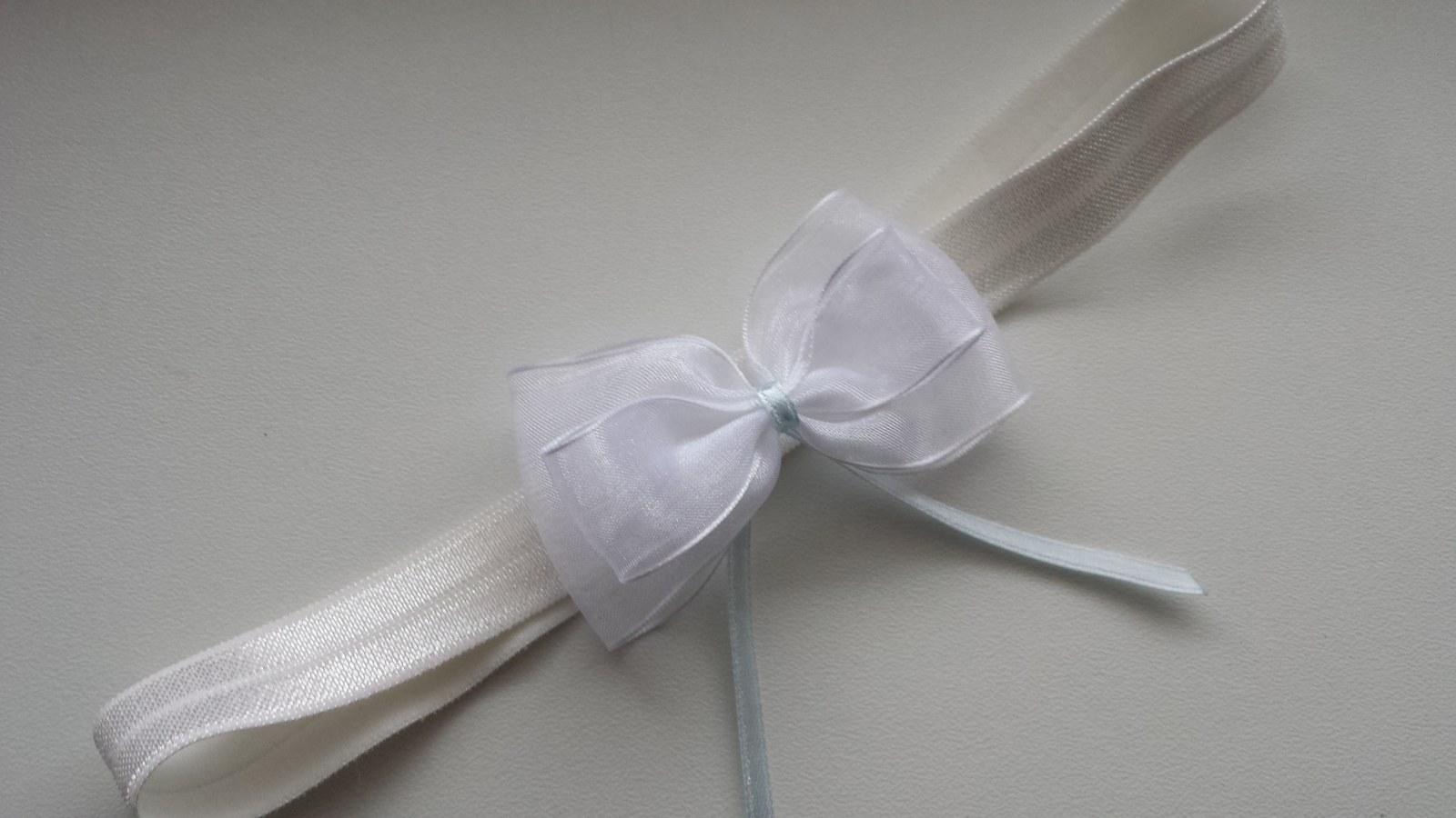 Ivory podvazek simple bow - Obrázek č. 1
