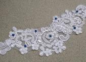 Krajkový luxusní bílý/ivory podvazek , 42