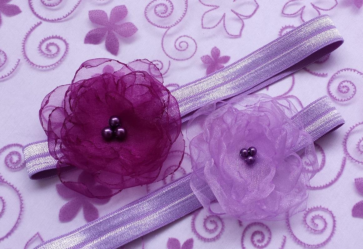 Fialová / lila čelenka pro malou družičku - Obrázek č. 1