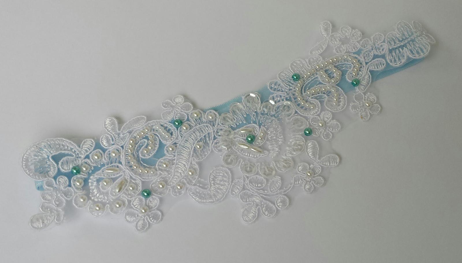 Krajkový luxusní bílý/ivory podvazek  - Obrázek č. 1