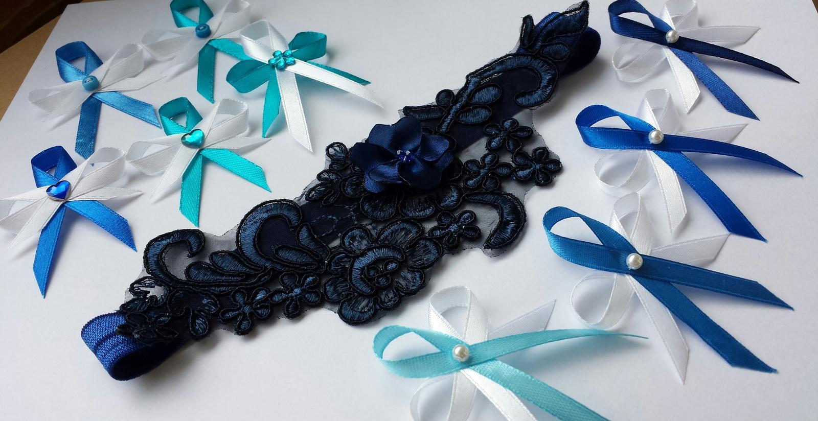 Krajkový luxusní tmavě modrý podvazek vel. XS-L - Obrázek č. 4