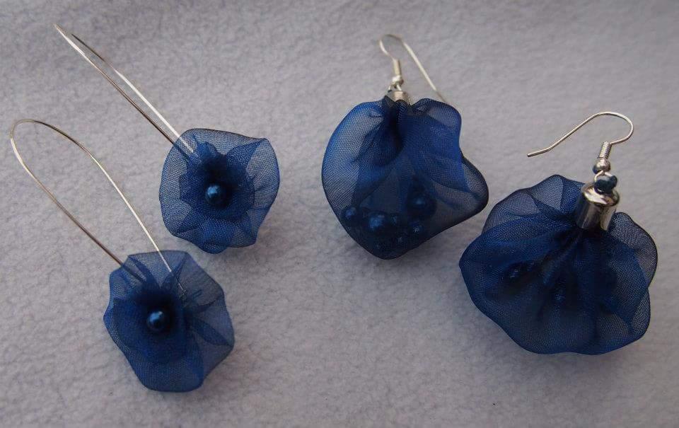 """Tmavě modré organzové naušnice """"Večernice"""" - Obrázek č. 1"""