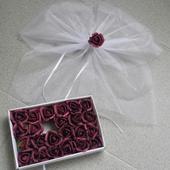 Bílá mašle na zrcátka/kliky vínová květinka vel.M,