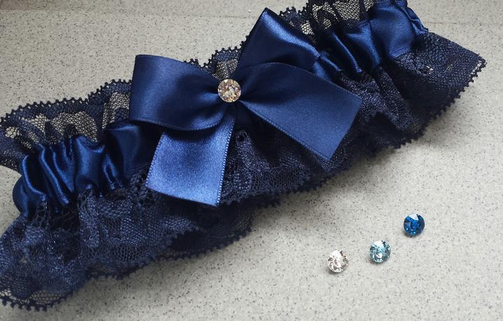 Krajkový tmavě modrý SW podvazek  - Obrázek č. 1