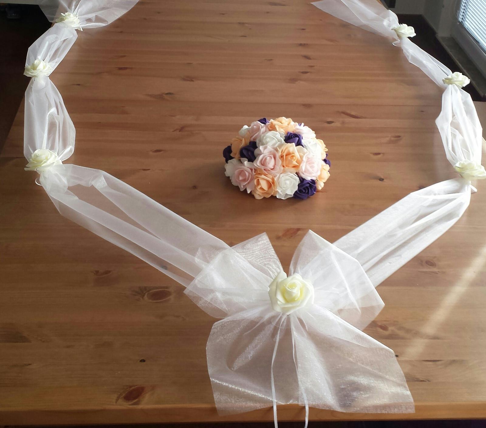 Organzová šerpa na svatební auto BEZ BUKETU - Obrázek č. 1