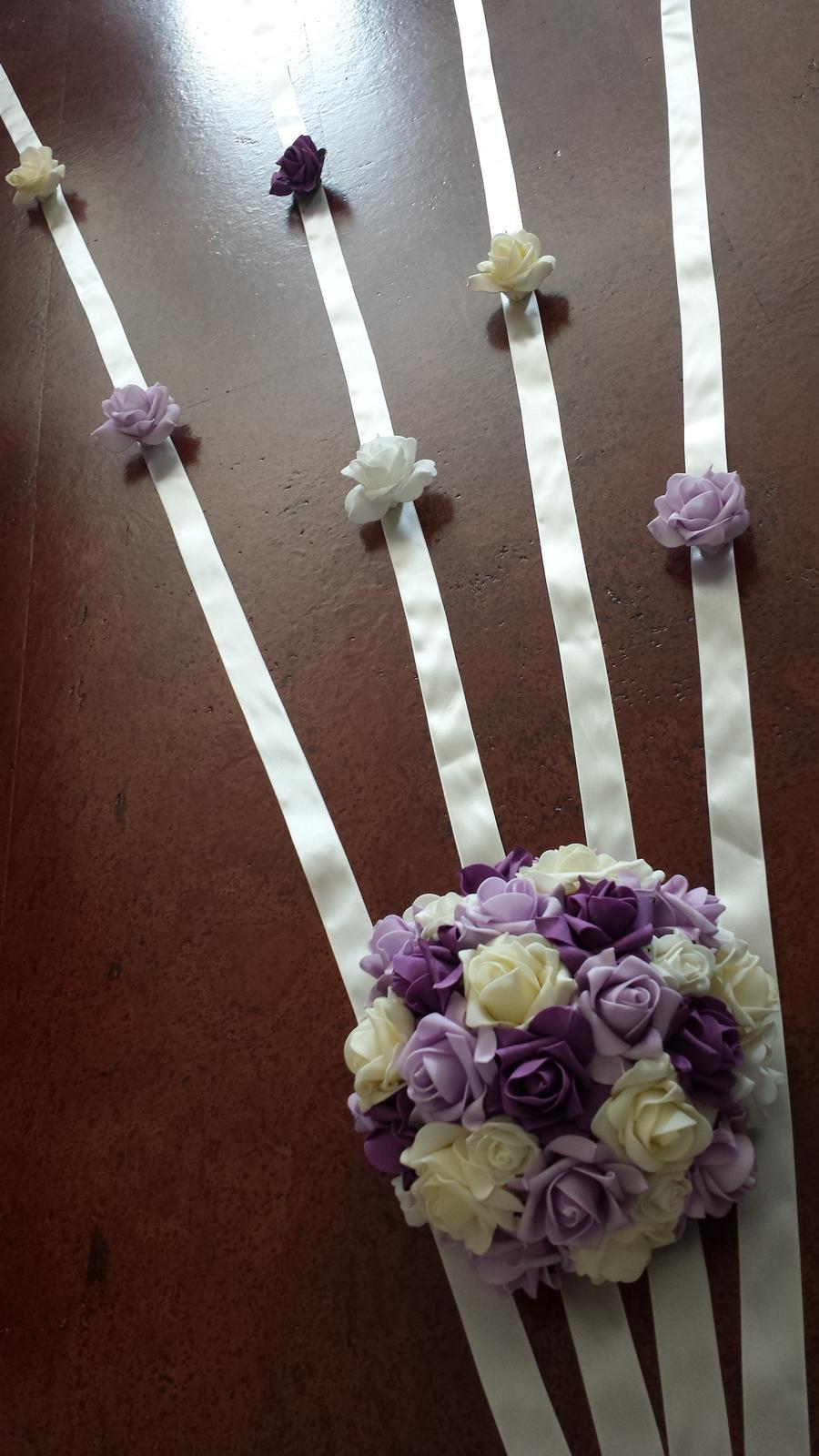 Buket na svatební auto lososová + bílá - Obrázek č. 2