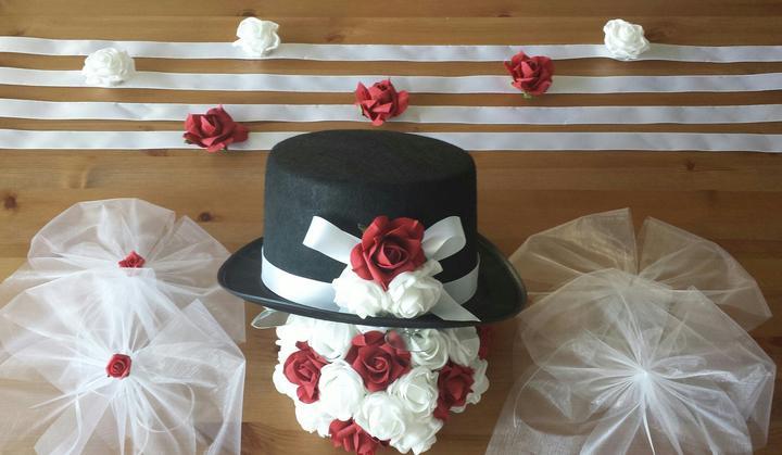 Buket na svatební auto lososová + bílá - Obrázek č. 3