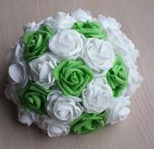 Buket na svatební auto trávově zelená + bílá,