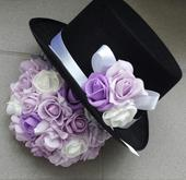 Cylindr na svatební auto lila + bílá,