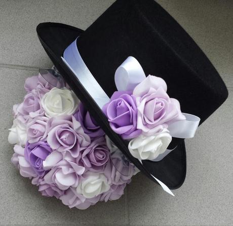 Cylindr na svatební auto lila + bílá - Obrázek č. 1