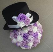 Cylindr na svatební auto bílá + fialová,