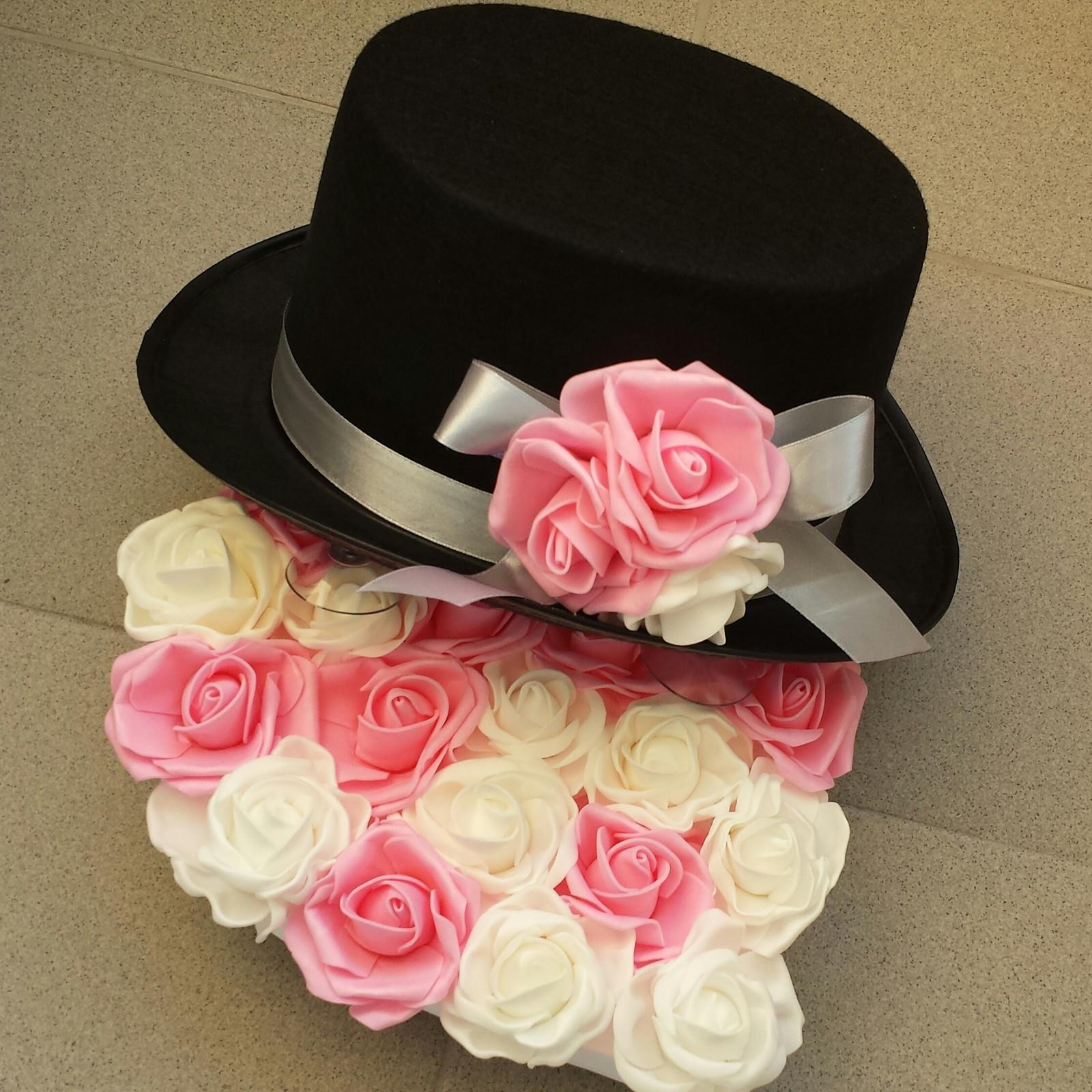 Cylindr na svatební auto - bílá + sytě růžová - Obrázek č. 1