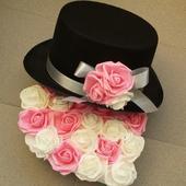 Cylindr na svatební auto - bílá + sytě růžová,