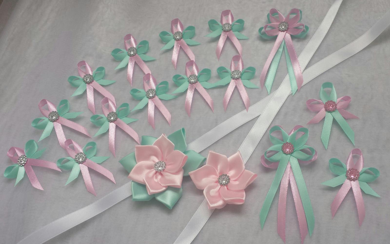 Svatební vývazky Tiffany blue and Pink - Obrázek č. 1