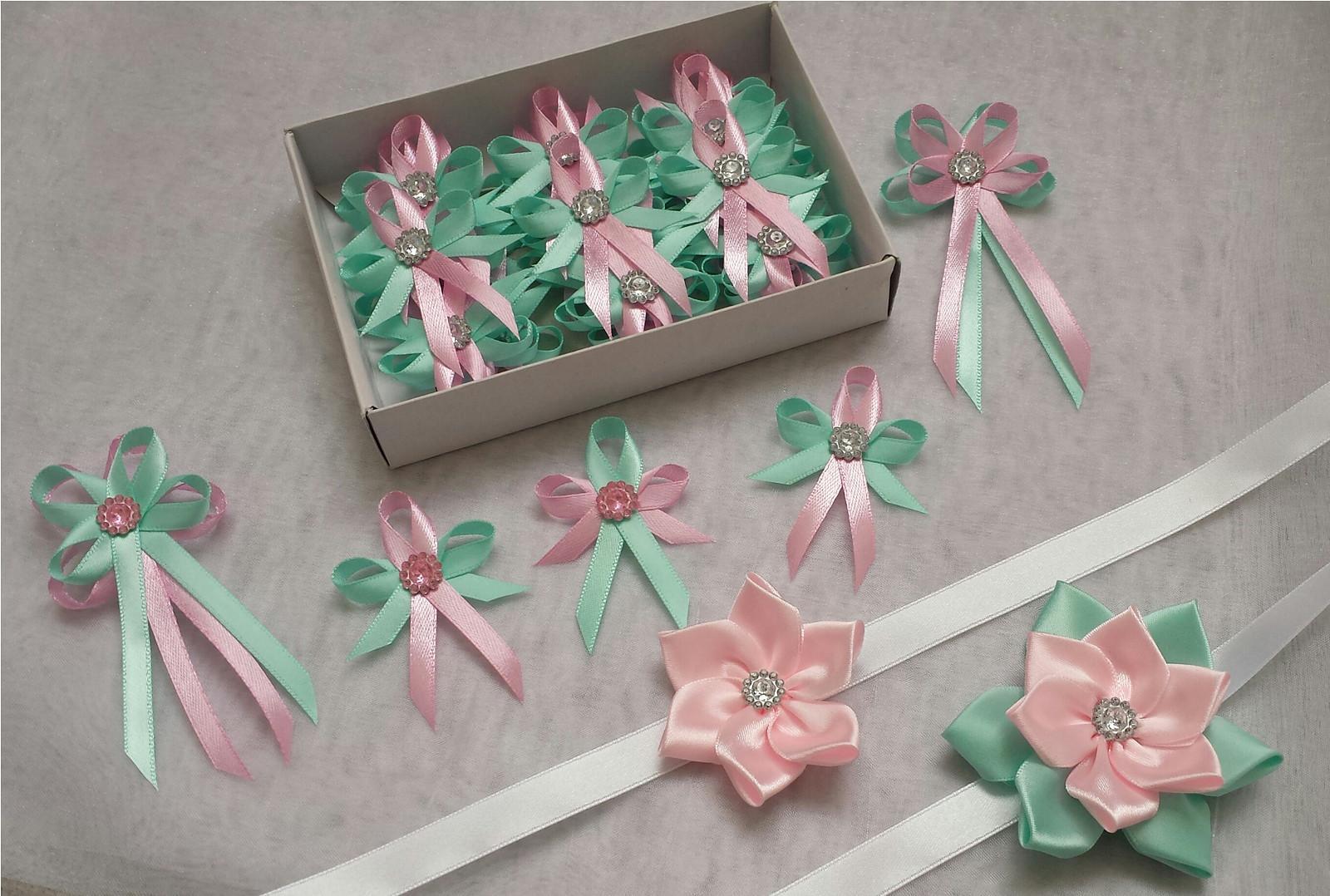 Svatební vývazky Mint blue and Pink - Obrázek č. 1