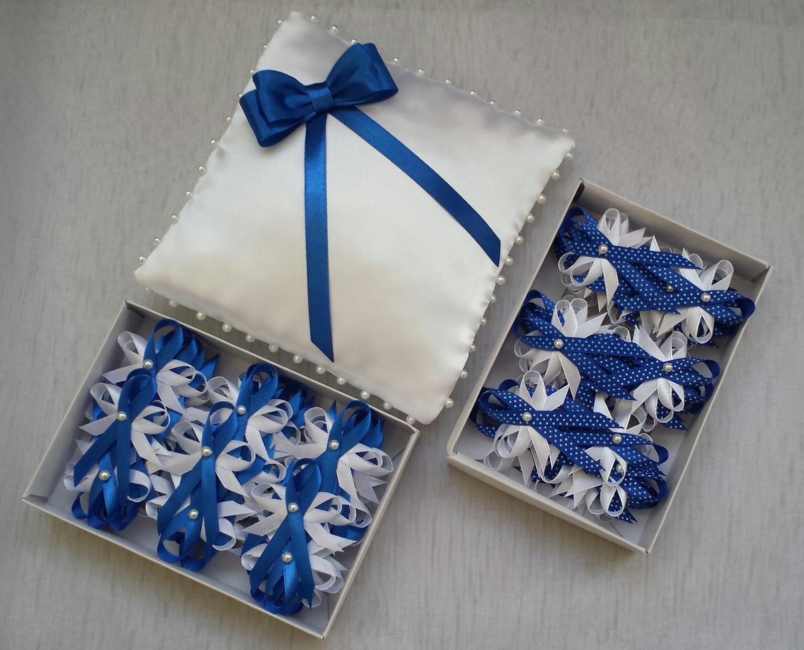 Krajkový bílo/tmavě modrý SW podvazek  - Obrázek č. 4