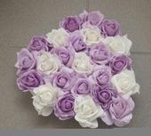Srdce na kapotu bílá, lila a fialová,