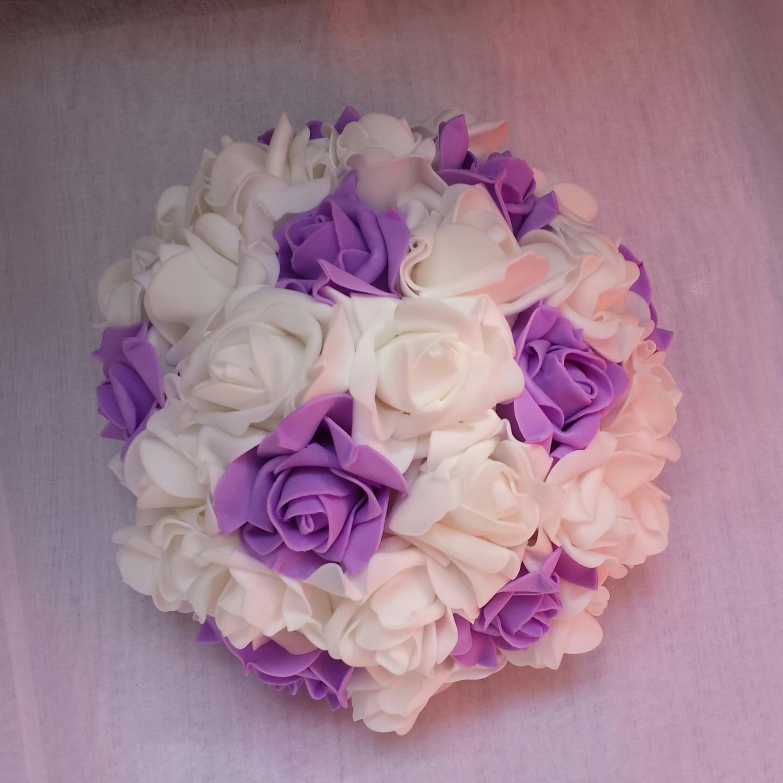 Buket na svatební auto - fialová - Obrázek č. 1