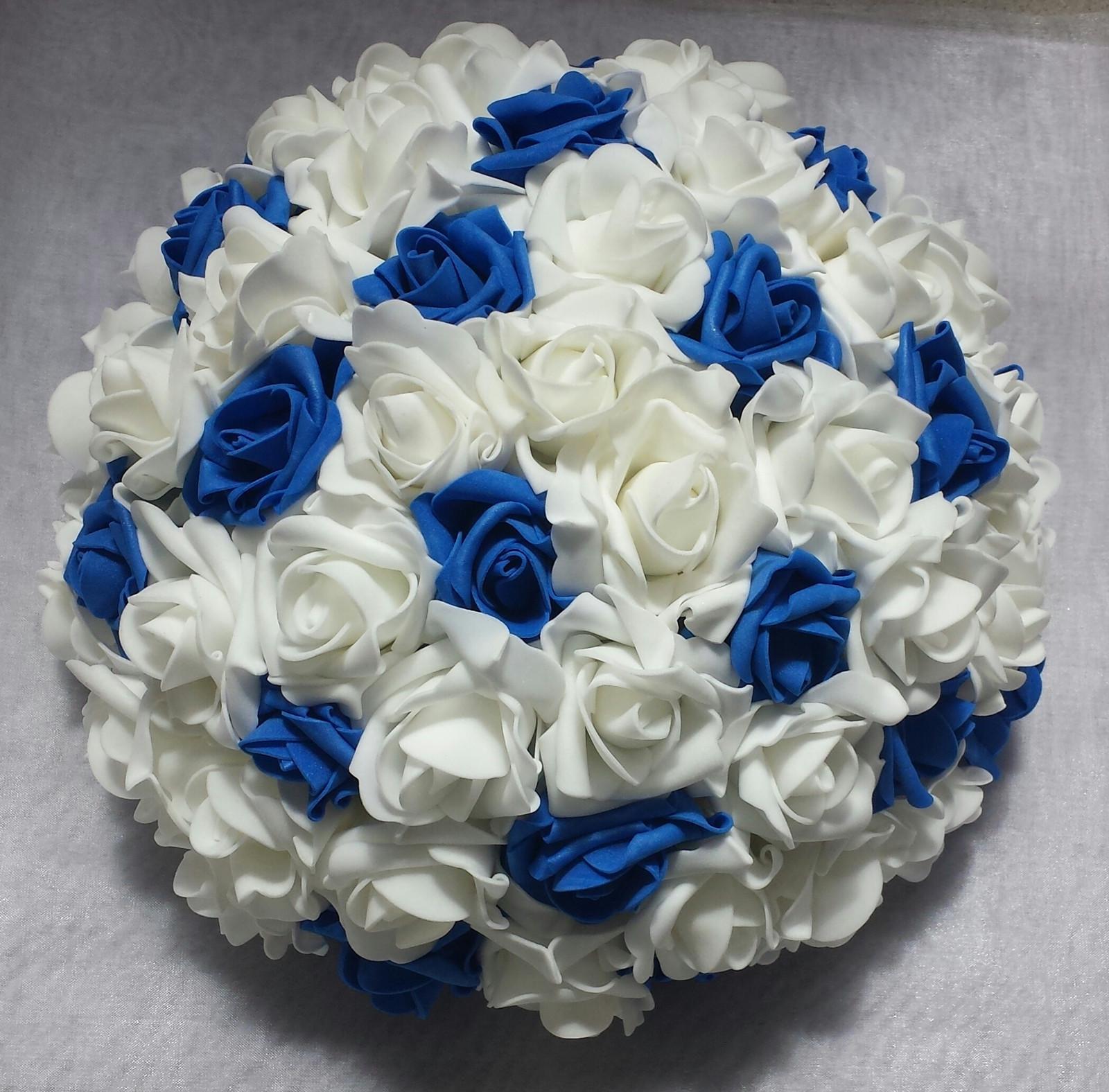 XXL Buket na svatební auto bílá a modrá - Obrázek č. 1