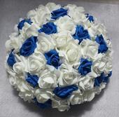XXL Buket na svatební auto bílá a modrá,