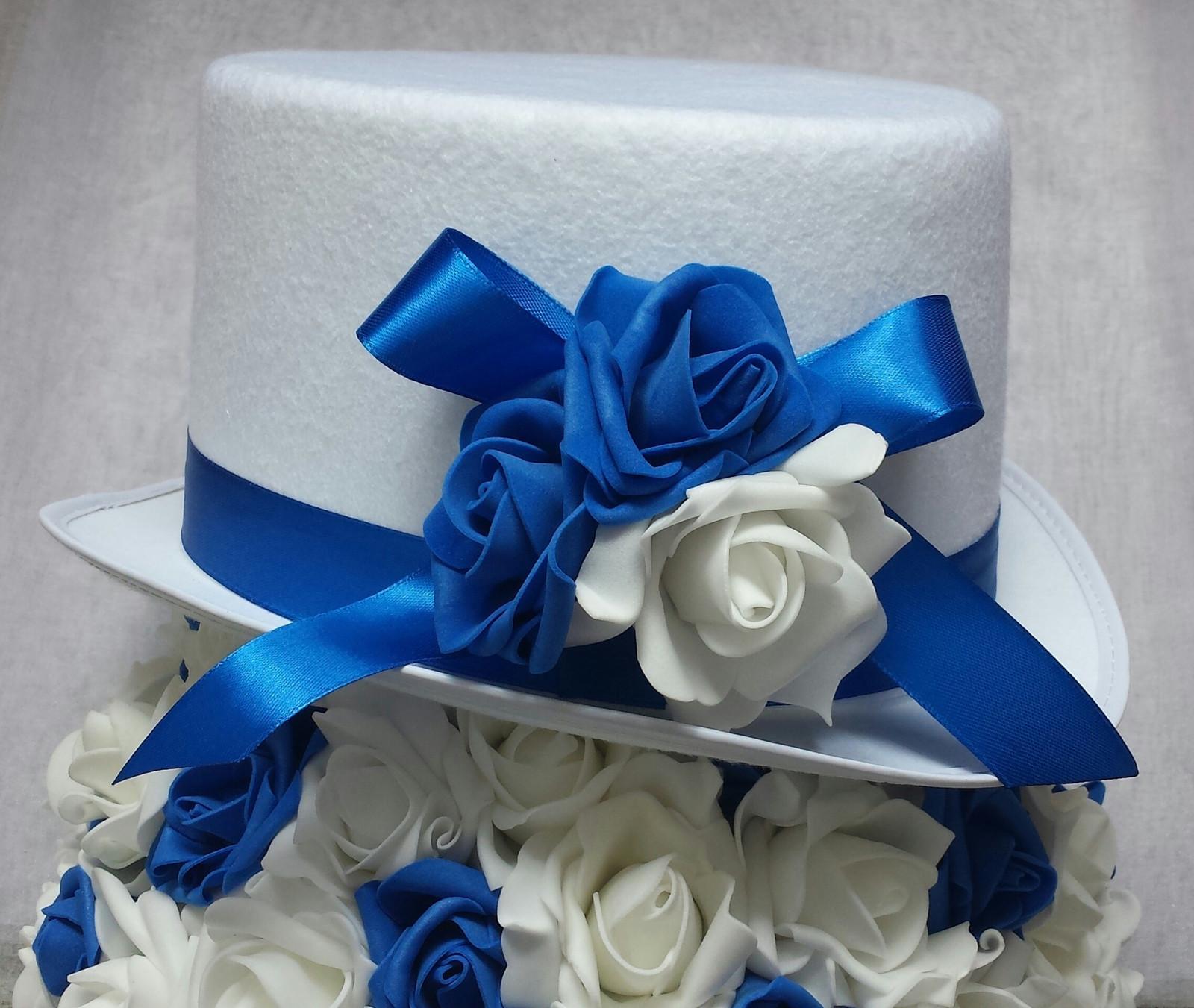 XXL Buket na svatební auto bílá a modrá - Obrázek č. 2