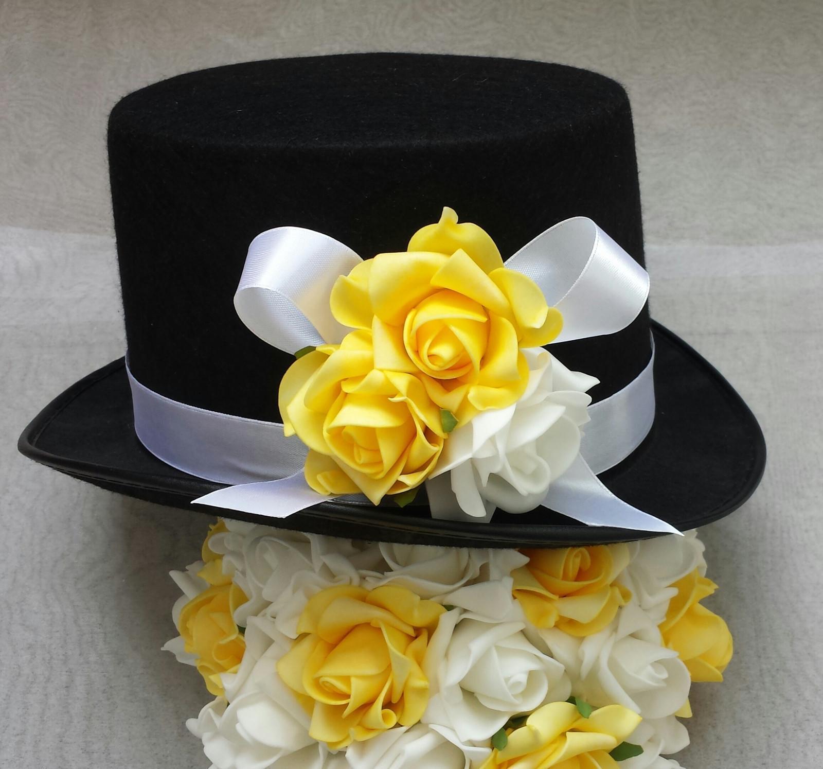 Cylindr na svatební auto - žlutá/bílá - Obrázek č. 1