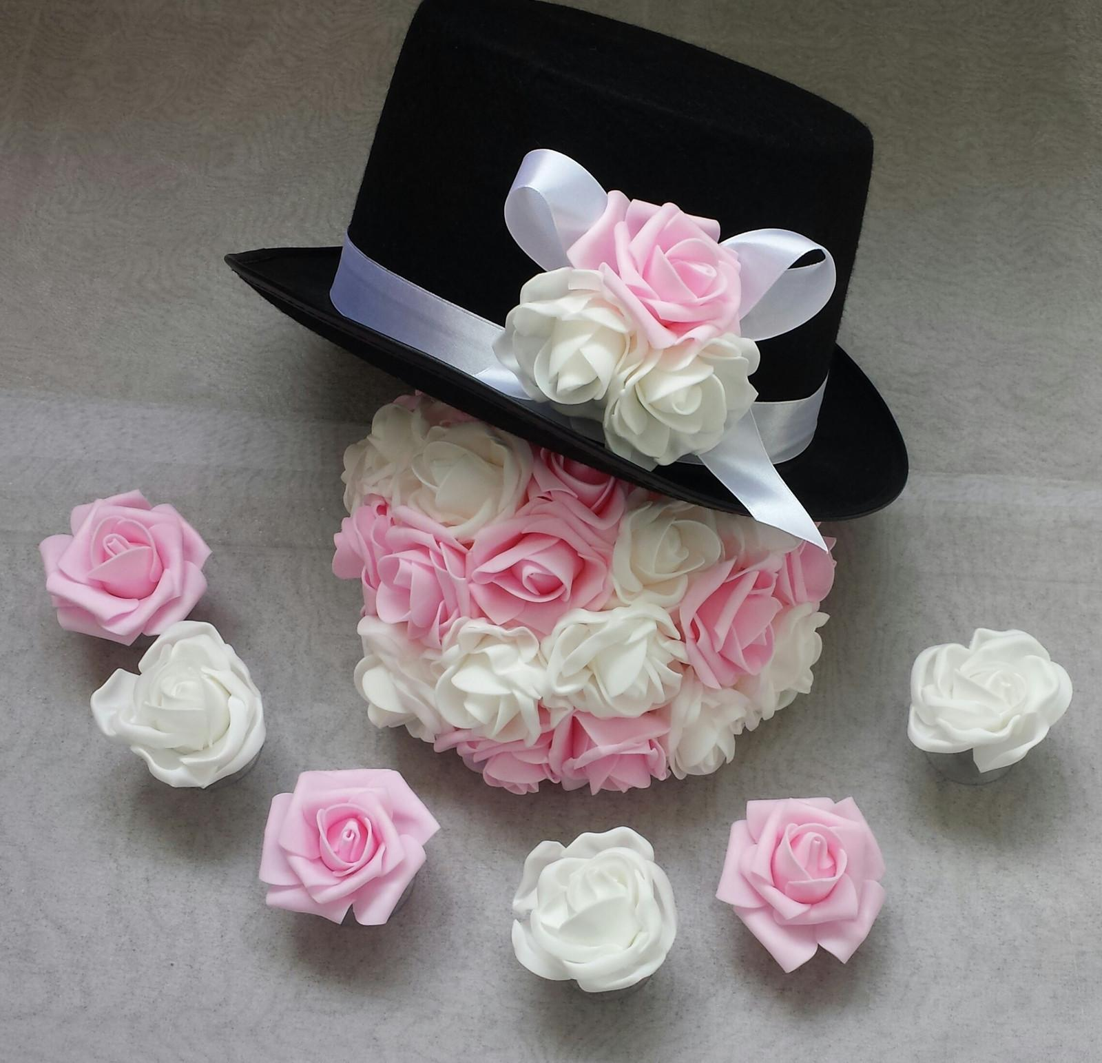 Cylindr na svatební auto - světle růžová/bílá - Obrázek č. 1