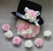 Cylindr na svatební auto - světle růžová/bílá,