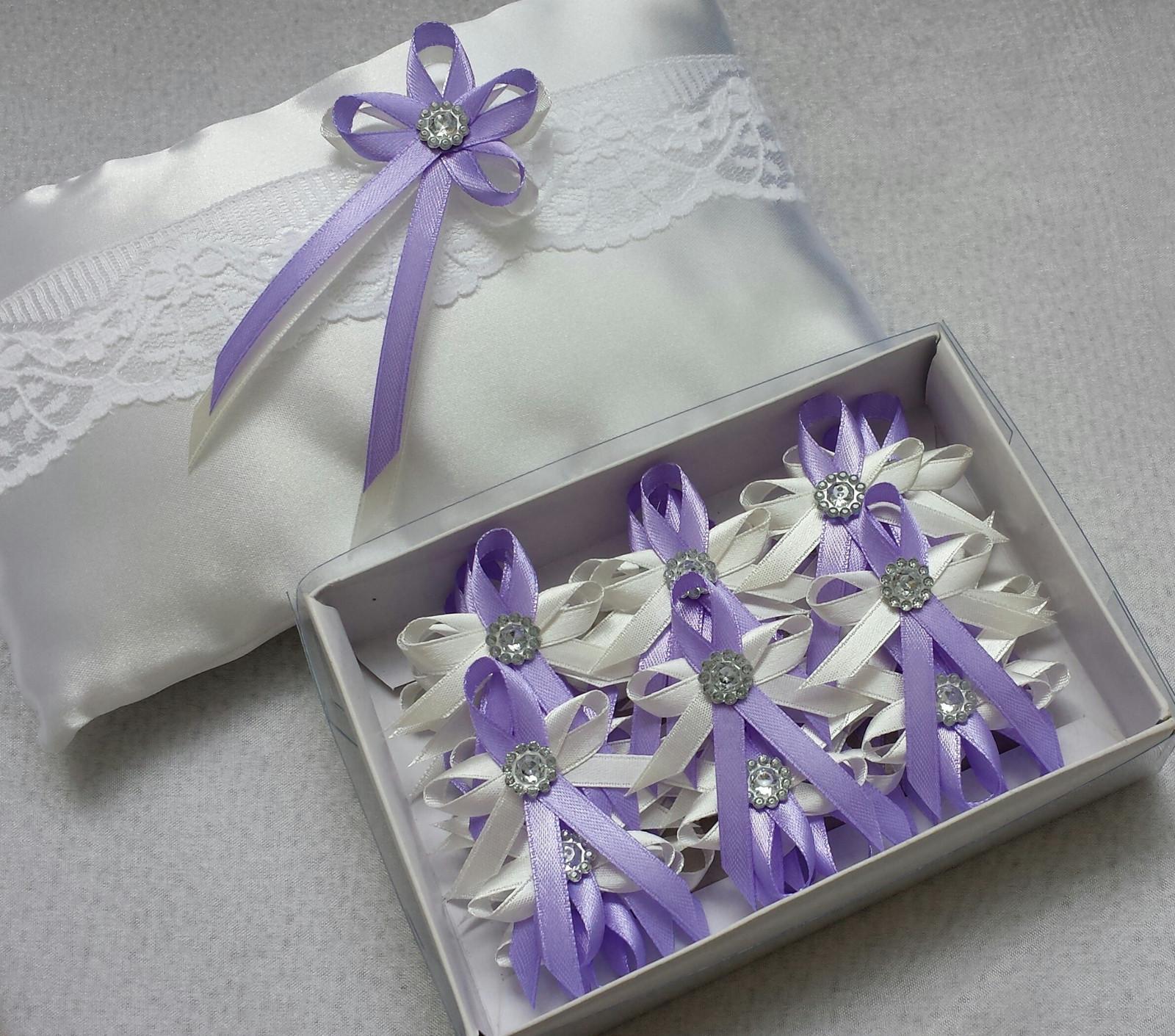 Luxusni ivory polštářek s lila kanzashi a krajkou - Obrázek č. 2