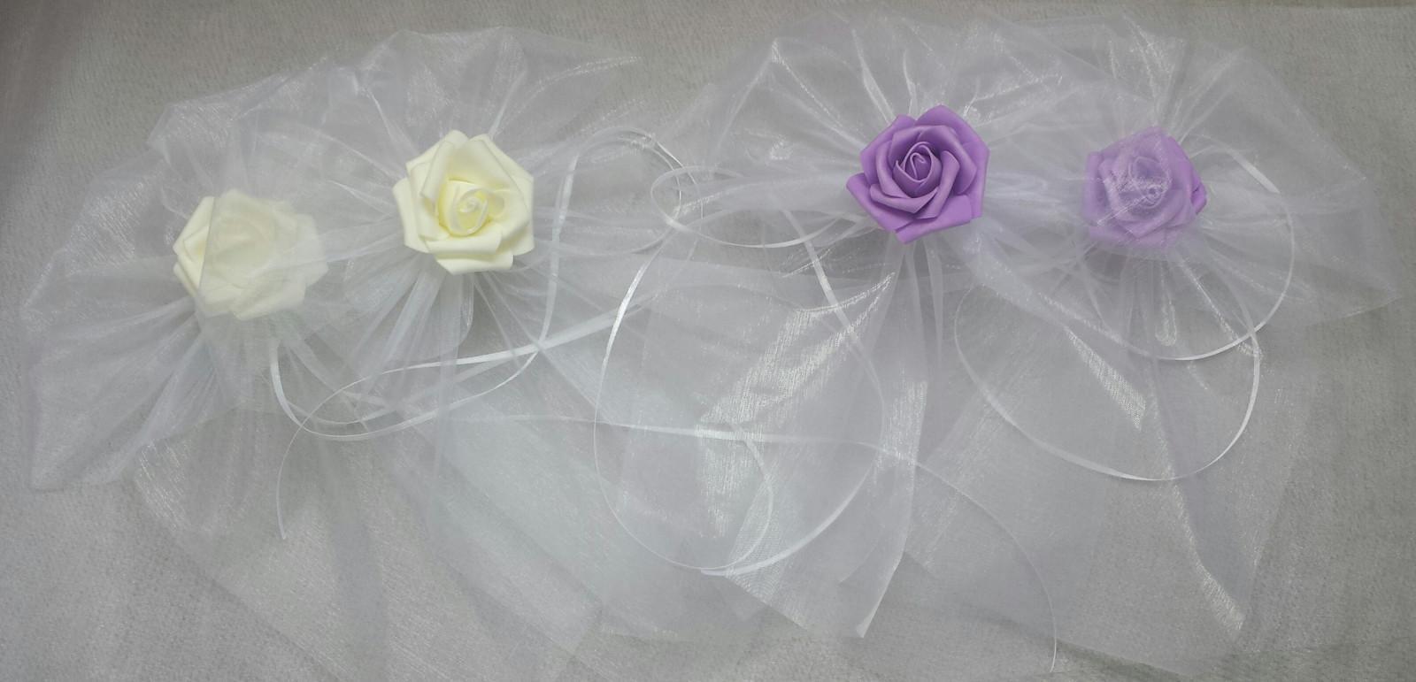 BÍLÁ mašle na zrcátka levandulový květ vel.XL - Obrázek č. 1