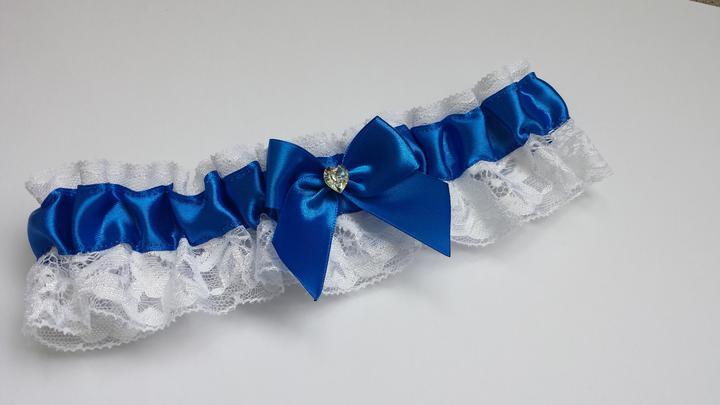 Krajkový bílo/tmavě modrý SW podvazek - Obrázek č. 1