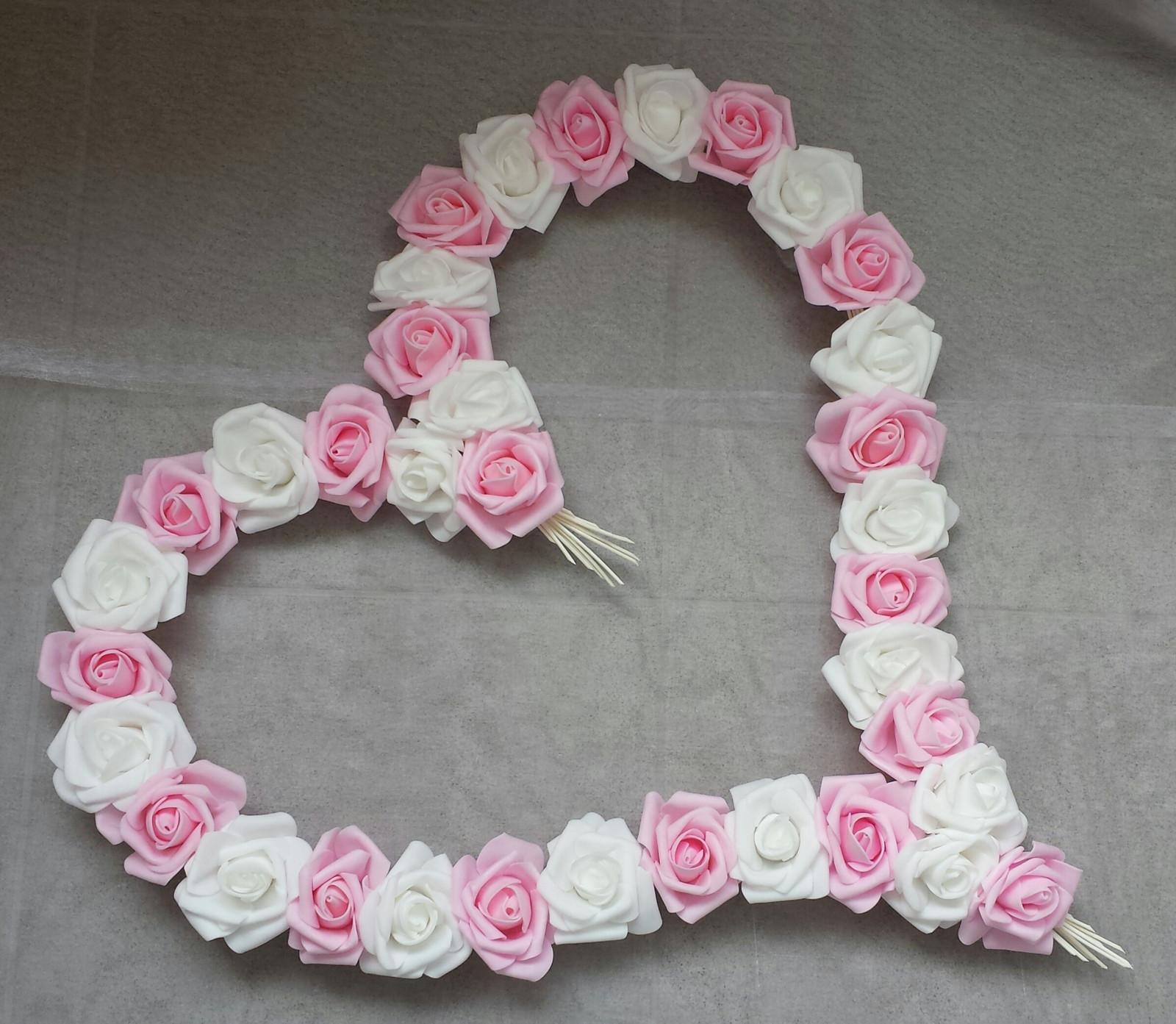 Pedigove srdce na kapotu - růžová/bílá - Obrázek č. 1