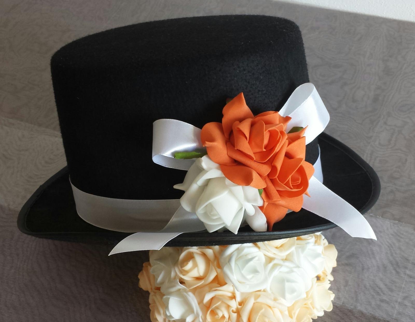 Cylindr na svatební auto - oranžová+bílá - Obrázek č. 1