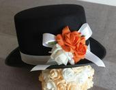 Cylindr na svatební auto - oranžová+bílá,