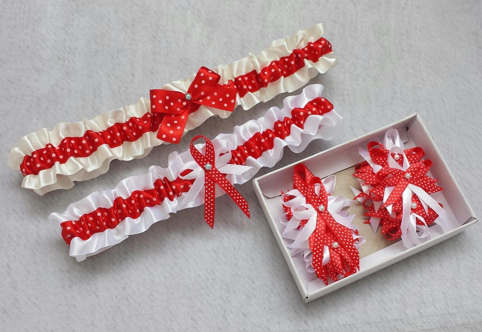 Krajkový bílý/červený SW podvazek - Obrázek č. 3