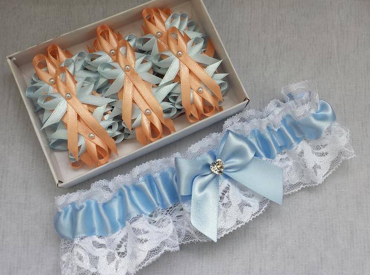 Svatební vývazky modrá a broskvová - Obrázek č. 1